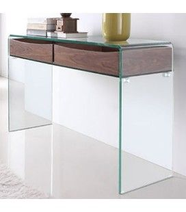 console design en verre transparent 90 ou 110 cm berily decome store. Black Bedroom Furniture Sets. Home Design Ideas