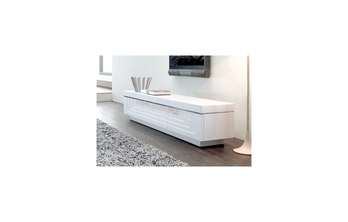 Meuble tv design blanc avec 3 tiroirs many decome store for Meuble tv blanc tiroir