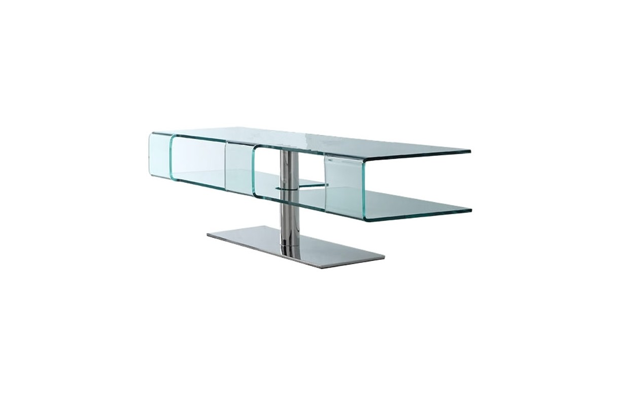 Meuble tv design en verre tremp et pied chrom alicy - Pied meuble design ...