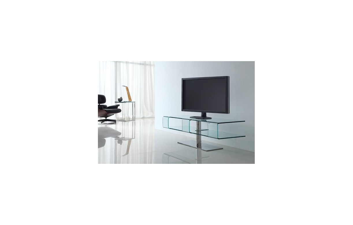 Meuble tv design en verre tremp et pied chrom alicy for Meuble tele en verre