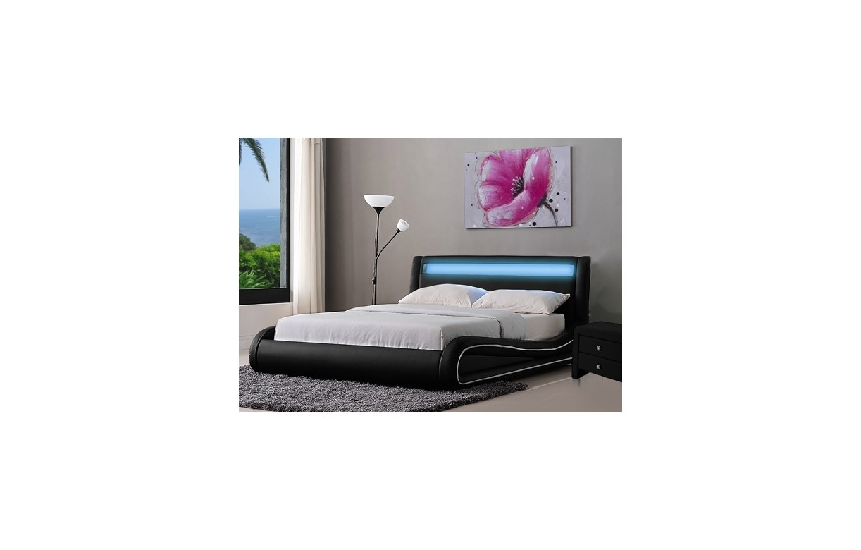 lit design noir ou blanc 140 cm avec t te de lit clair e light decome store. Black Bedroom Furniture Sets. Home Design Ideas