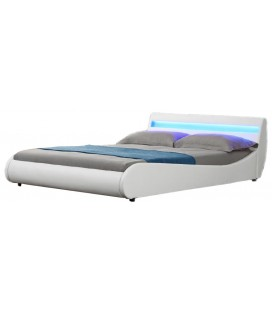 Lit design blanc 140 cm en simili cuir avec éclairage Led Moon LIGHT