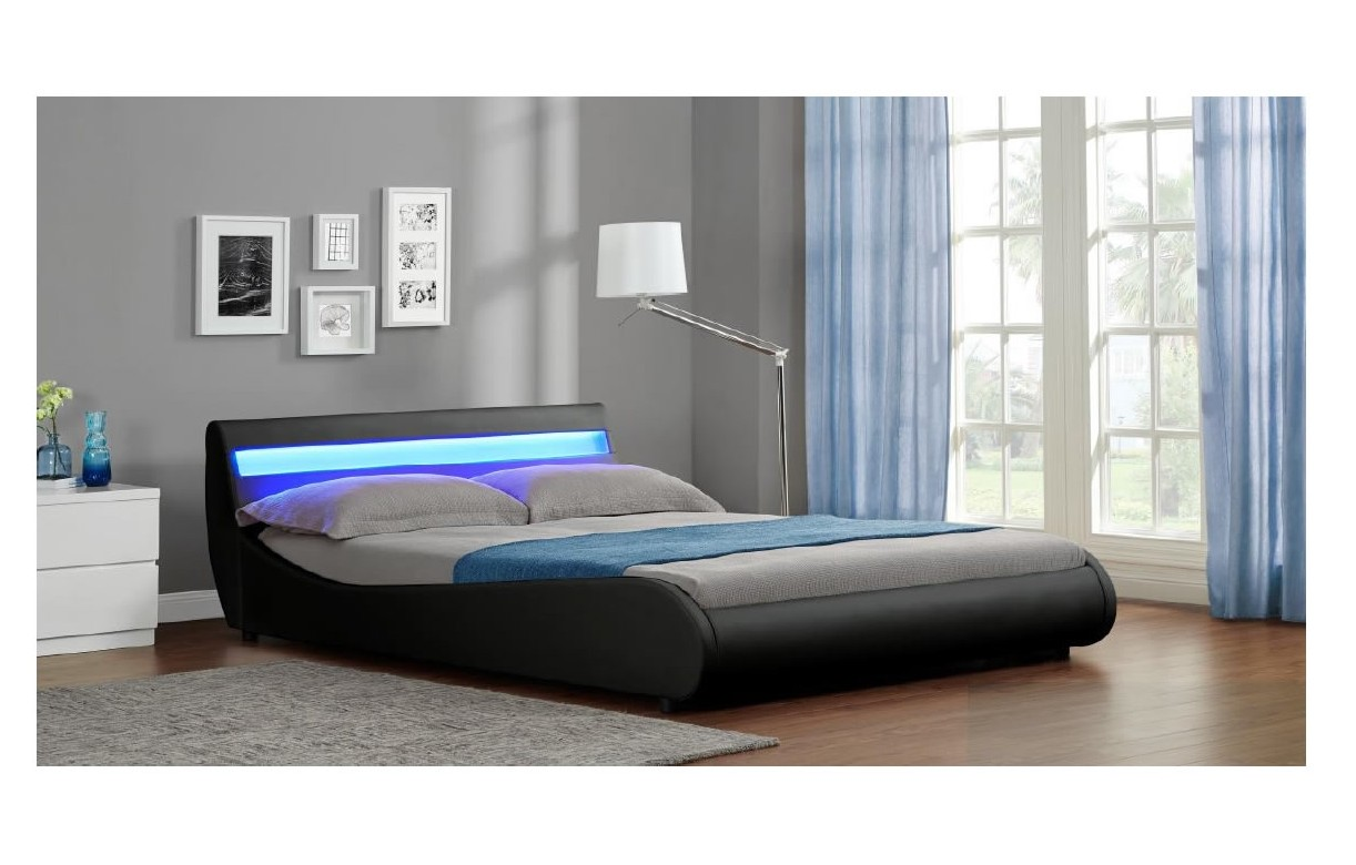 lit 160 queen size en simili cuir noir et bande led moon. Black Bedroom Furniture Sets. Home Design Ideas