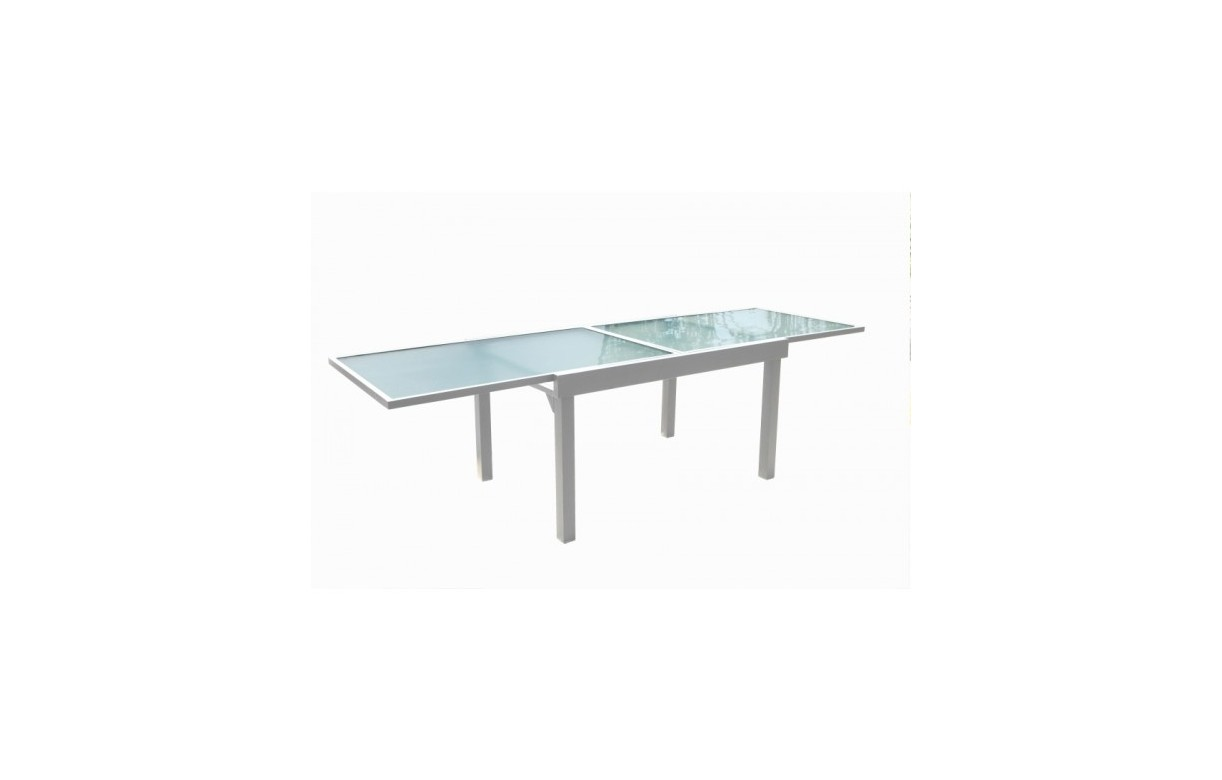 Table extensible d 39 ext rieur en verre et aluminium blanc for Table en verre 6 chaises