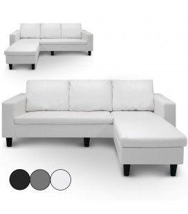 Canapé d'angle réversible en simili cuir blanc gris ou noir Malagy