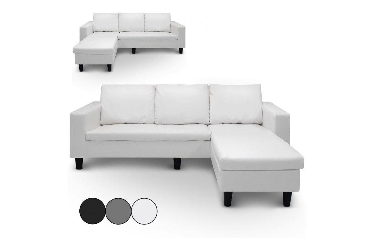 canap d 39 angle r versible en simili cuir blanc gris ou noir malagy decome store. Black Bedroom Furniture Sets. Home Design Ideas