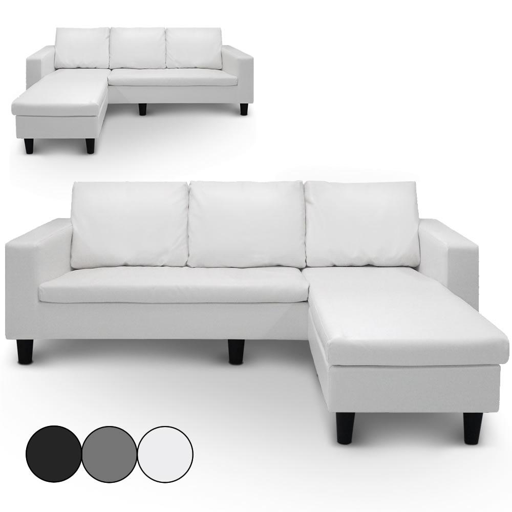 Canapé Dangle Réversible En Simili Cuir Blanc Gris Ou Noir Malagy - Canapé blanc simili cuir pas cher
