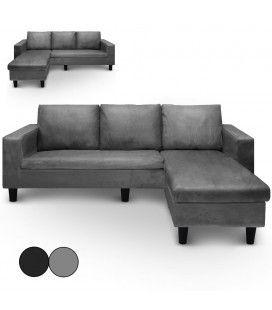 Canapé d'angle réversible en microfibre gris ou noir Malagy