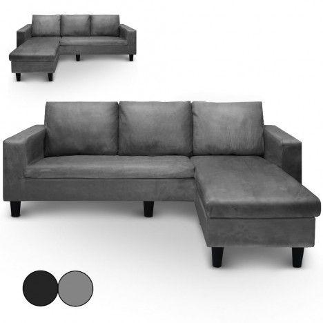Canapé d'angle réversible en microfibre gris ou noir Malagy -