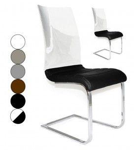 Set de 2 chaises en simili cuir et dossier laqué Kortex - 6 coloris