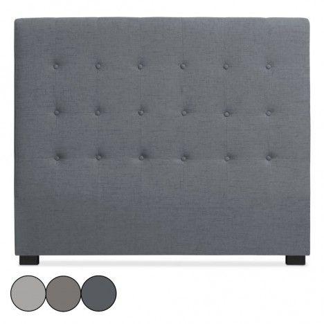 Tête de lit 140cm en tissu grise taupe ou beige Luxy -