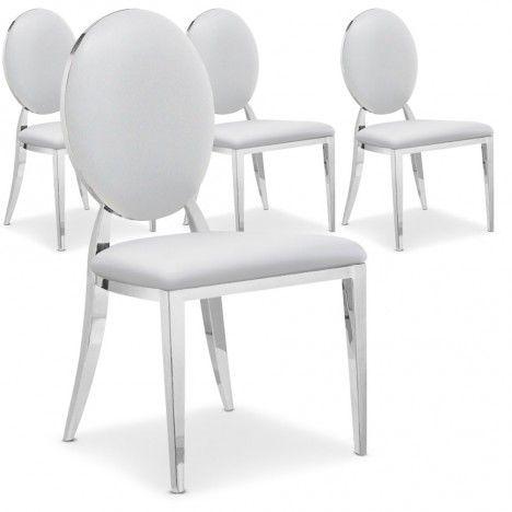 Lot de 4 chaises médaillon vinyle et pieds inox - 4 coloris -