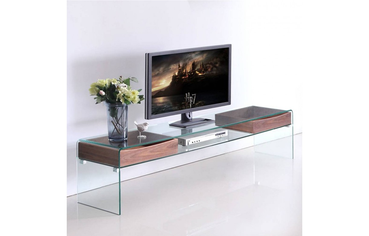 meuble banc tv en verre et rangements en bois glasswoody. Black Bedroom Furniture Sets. Home Design Ideas