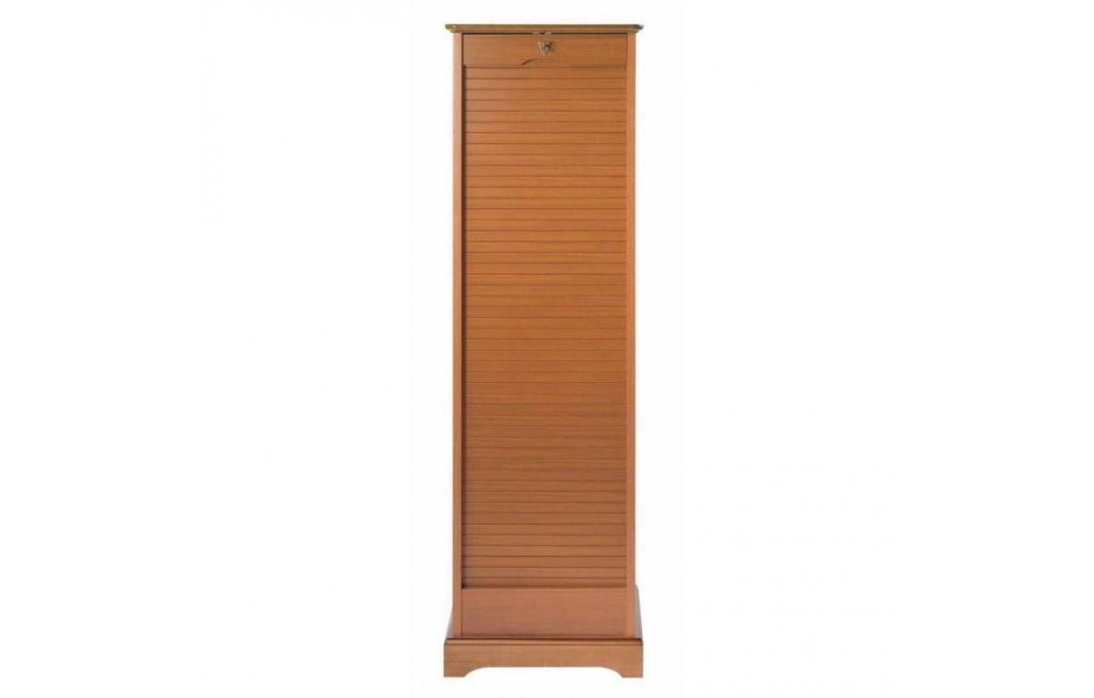 Rangement de bureau à rideau déroulant en bois merisier cm