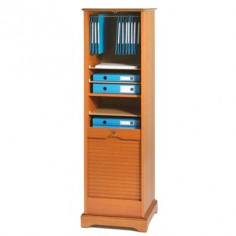 Rangement de bureau à rideau déroulant en bois merisier 150 cm LYON -