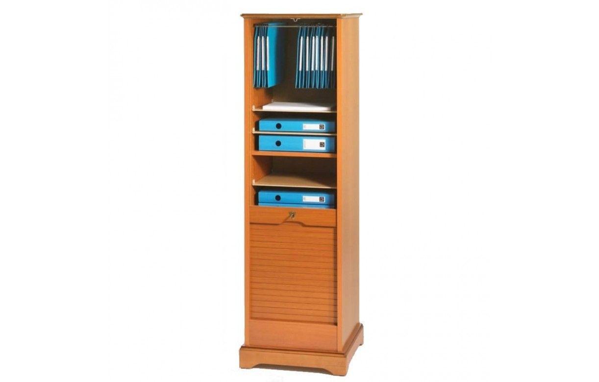 rangement de bureau rideau d roulant en bois merisier 150 cm lyon decome store. Black Bedroom Furniture Sets. Home Design Ideas