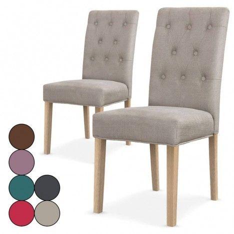 Lot de 2 chaises en tissu Costy - 6 coloris -