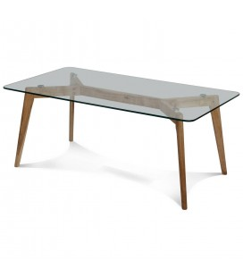 Table basse rectangle en verre et hévéa massif 110cm Fiorda