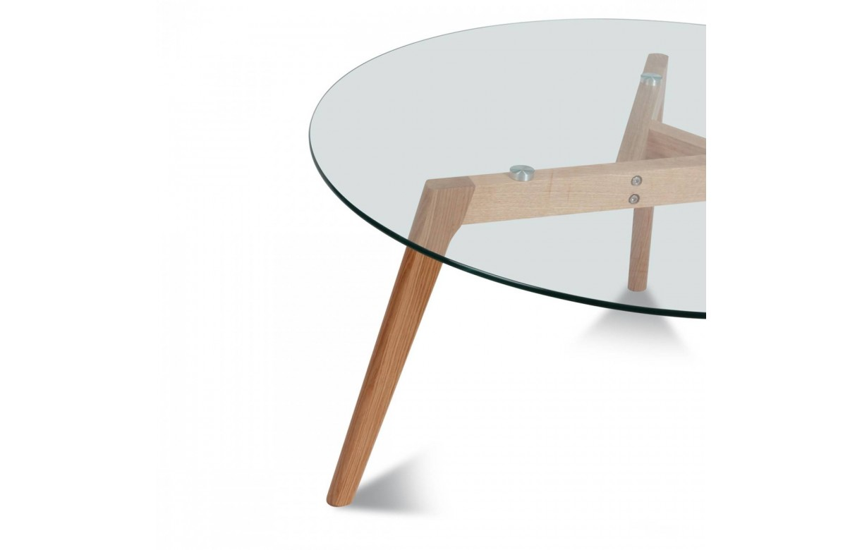Table basse ronde en verre et pieds en chene massif fiorda for Table basse scandinave en chene