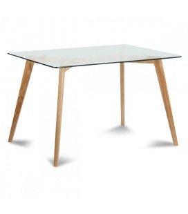 Table scandinave en verre et bois massif 180cm Fiorda