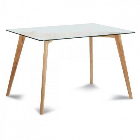 Table scandinave en verre et chene massif 4 à 12 couverts Fiorda -