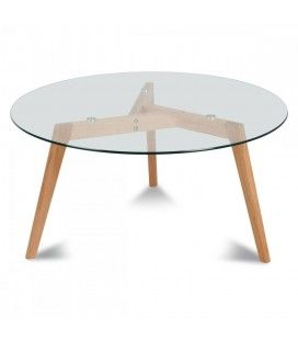 Table ronde en verre et chene massif scandinave 5 couverts Fiorda -