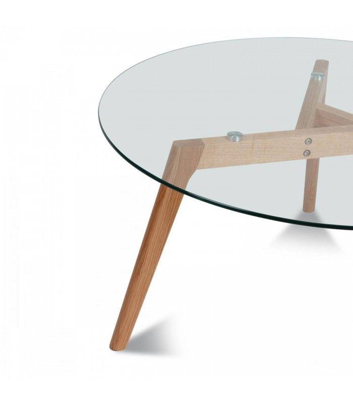 0321474a8d0f1 ... Table ronde en verre et chene massif scandinave 5 couverts Fiorda ...