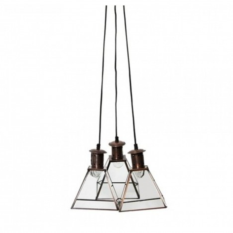 Suspension triple en verre et m tal style industriel for Suspension triple luminaire