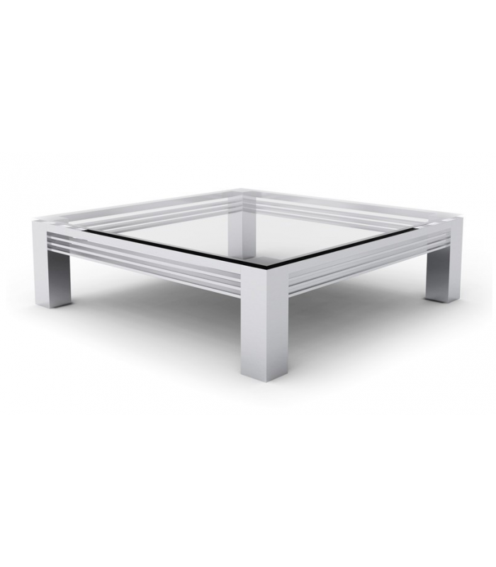 Table basse en verre transparent et pieds en acier inox for Bureau transparent