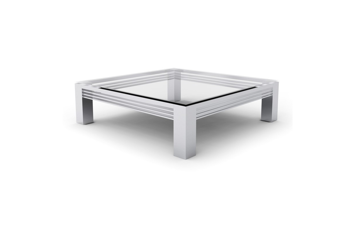 Table basse en verre transparent et pieds en acier inox for Tables basses de salon en verre