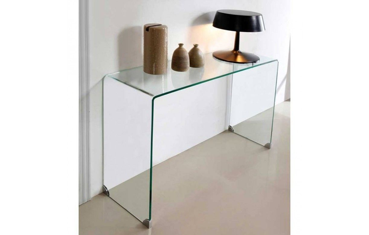 Console design en verre transparent 90 ou 110 cm berily for Meuble console design
