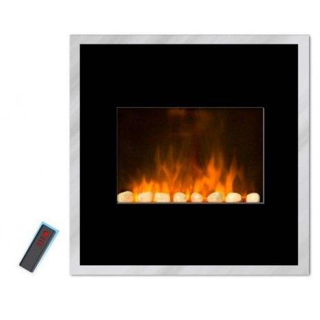 Cheminée électrique radiateur noir imitation feu Black River -