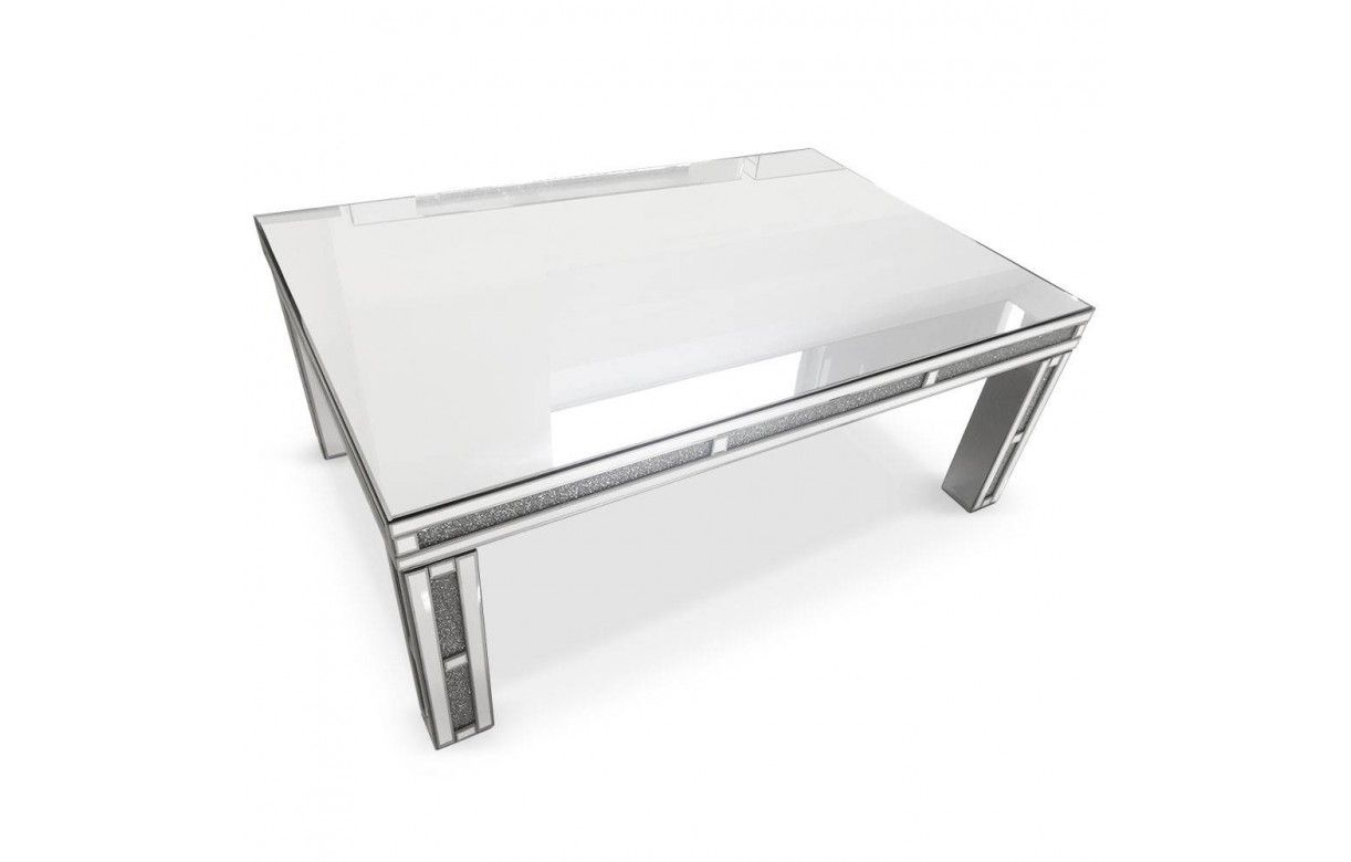 Grande table basse design avec plateau en verre for Table basse miroir