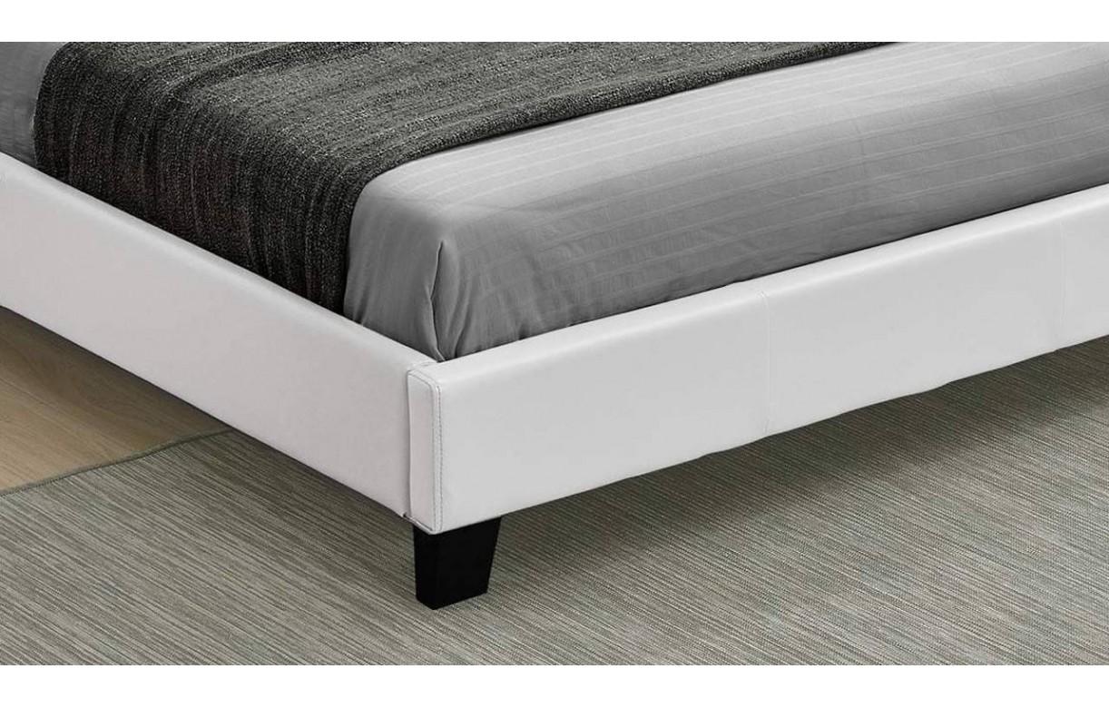 Lit double blanc pas cher avec t te de lit 140 ou 160 - Lit simili cuir pas cher ...