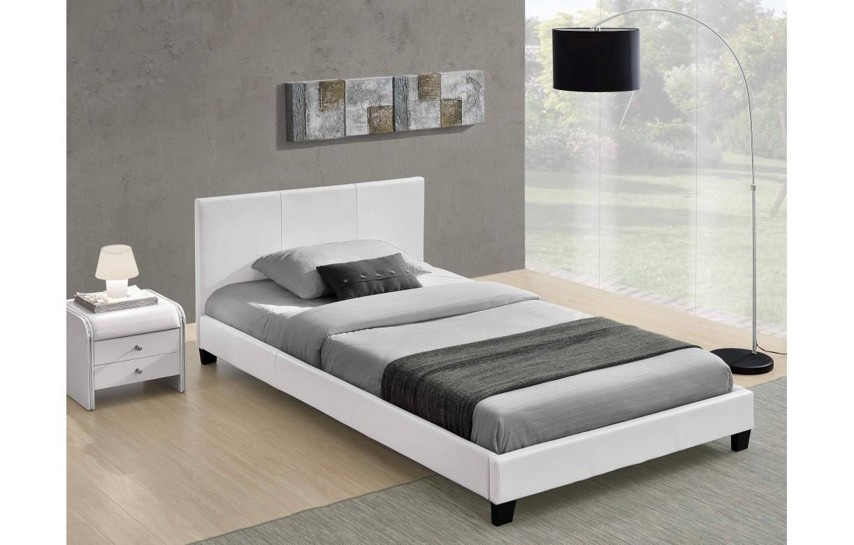 Lit double blanc pas cher avec t te de lit 140 ou 160 - Lit en cuir blanc pas cher ...
