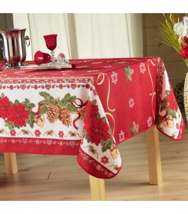 Nappe de Noel rouge anti-tache rectangle 150x240 cm