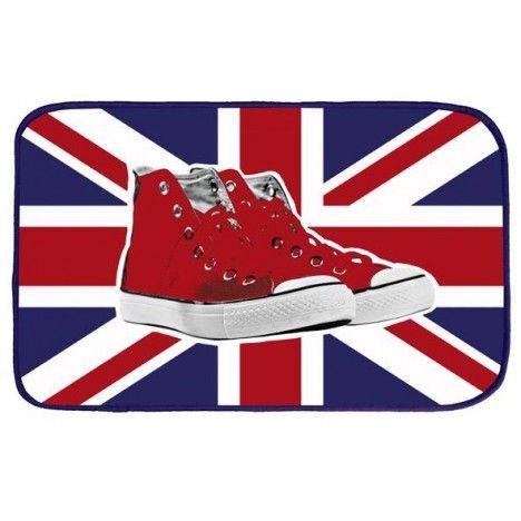 Tapis deco London 45x75 cm velours shoes drapeau -