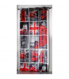 Rideau London rouge Oeillets 140 x 260 cm