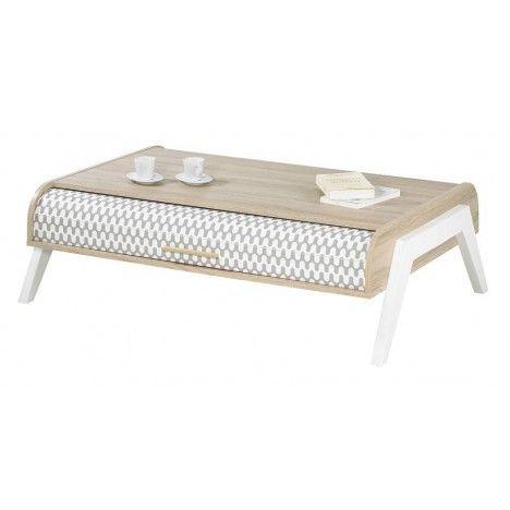 Table basse bois clair avec 4 rangements et 2 rideaux déco Vintagy -