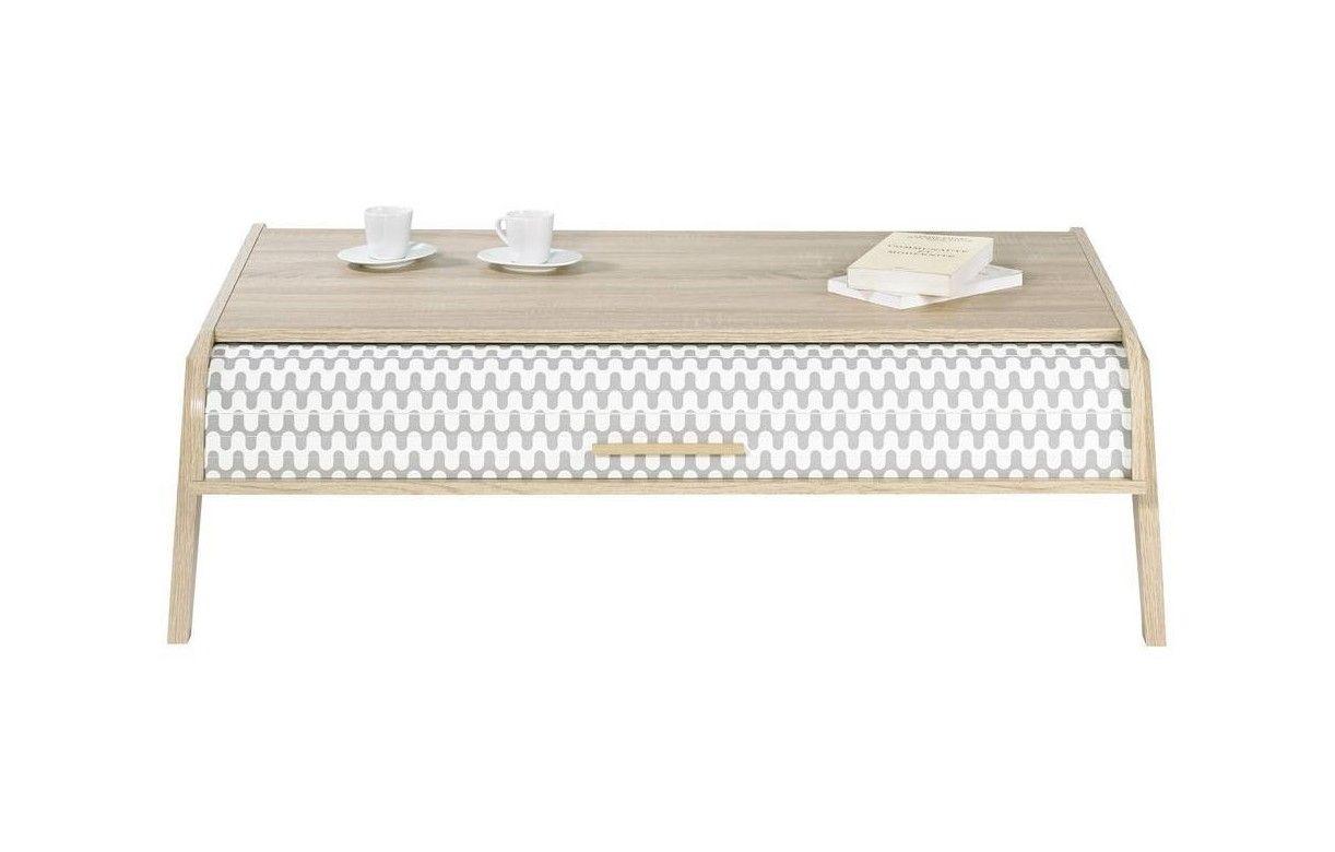 Table basse bois clair scandinave avec rangements rideau for Table basse scandinave blanc et bois
