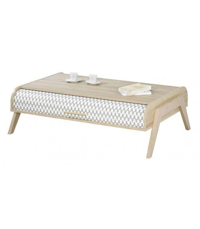Table Basse Bois Clair Scandinave Avec Rangements à Rideau Vintage