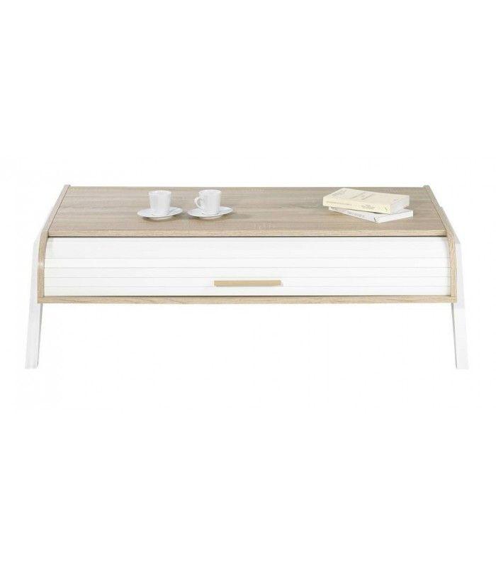 Clair Table Avec 2 De Chene Blanc Rideaux Rangement Basse Vintagy Yfg76by