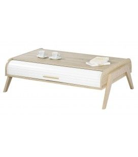 table basse blanche et bois avec tiroir style scandinave. Black Bedroom Furniture Sets. Home Design Ideas