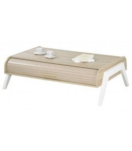 Table basse chene clair avec 2 rideaux déroulants Vintagy -