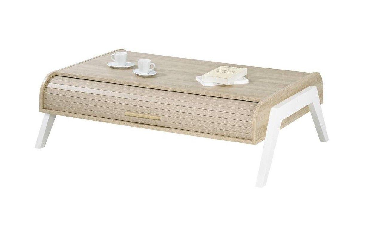 Table basse chene clair avec 2 rideaux d roulants vintage - Table basse chene clair massif ...