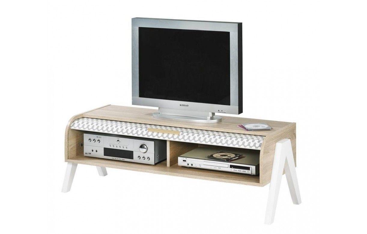 Meuble tv bois clair avec 4 rangements et 2 rideaux d co for Meuble tv verre et bois