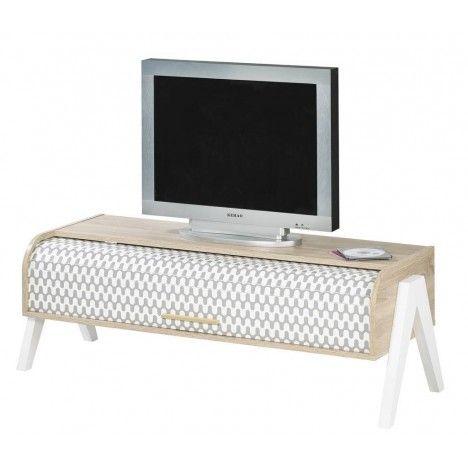 Meuble TV bois clair avec 2 rangements et rideau déco Vintagy -