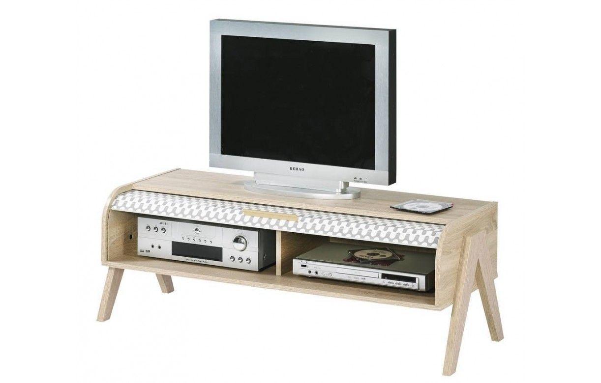 meuble tv bois clair avec 4 rangements et 2 rideaux d co. Black Bedroom Furniture Sets. Home Design Ideas