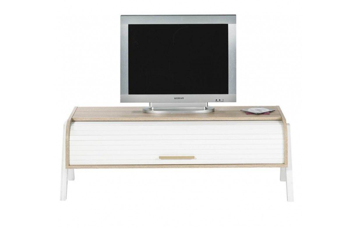 Meuble Tv Bois Clair Rideau Blanc Et Rangements Vintage # Meuble Tv Bois Clair