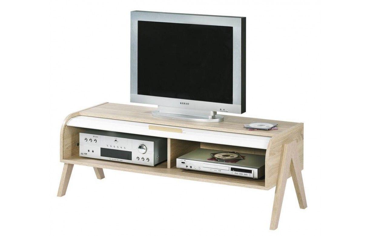 Meuble tv bois clair rideau blanc et rangements vintage for Meuble tv bois et blanc